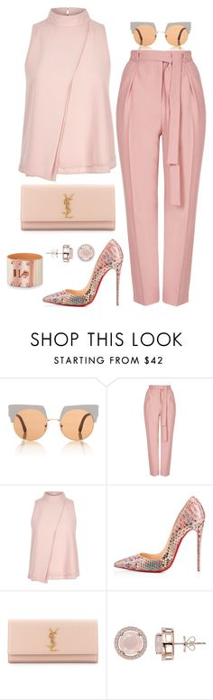 """""""Breast Cancer Awareness"""" by fashionkill21 ❤ liked on Polyvore featuring Marni, Topshop, River Island, Christian Louboutin, Yves Saint Laurent and H.AZEEM"""