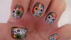 Skull Halloween nail, art design by freemissval - Nail Art Gallery nailartgallery.nailsmag.com by Nails Magazine www.nailsmag.com #nailart
