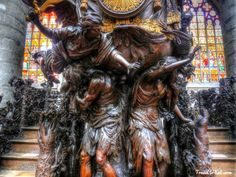 Pulpit Showing Adam and Eve Expelled from the Garden of Eden. Cathedral of St. Michael and St. Gudula, Brussels