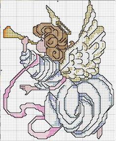 Schema punto croce Angioletto Tromba