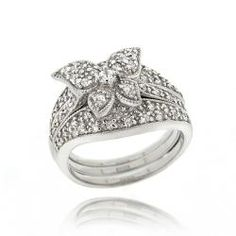 Icz Stonez Sterling Silver Cubic Zirconia Butterfly Ring Set (1 2/5ct TGW) | Overstock.com Shopping - The Best Deals on Cubic Zirconia Rings