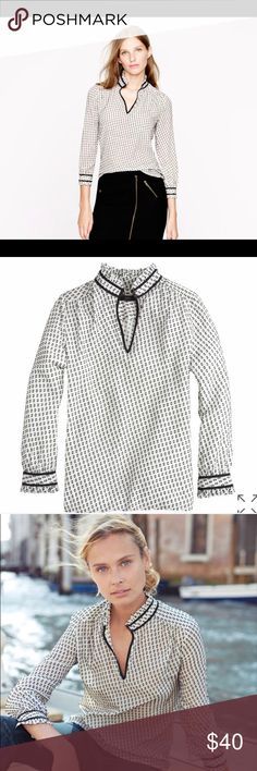 J.Crew Tipped Swiss Dot Top PRODUCT DETAILS Inspired by a vintage dress from the 1930s that our designer found in LA, this silk top is at once airy and textured.  Silk/poly. Long roll-up sleeves. Functional buttons at cuffs. Dry clean. Import. Item 03535. J. Crew Tops Blouses