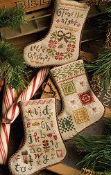 """Flora McSample's 2013 Stockings"" is the title of this cross stitch pattern from Lizzie Kate's Flora McSample Series.  There are three desig..."