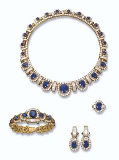 PROPERTY OF A ROYAL HOUSE: A SAPPHIRE AND DIAMOND SUITE The necklace designed as a graduated series of cushion and oval-shaped sapphires to the brilliant-cut diamond half-surround and baguette-cut diamond spacers, bracelet, ear pendants and ring en suite.