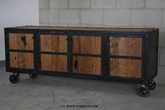 Vintage Industrial Media Console/Credenza. Retro, rustic, urban/modern design. Reclaimed wood. (buffet,sideboard) Mid century. TV stand.