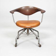 Hans Wegner; Mahogany, Leather and Steel Swivel Chair for Johannes Hansen, c1955.