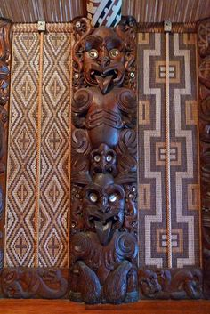 Maori Warrior Carvings - Te Whare Runanga - Waitangi by BlueVoter on Flickr.Via Flickr: Close up on one of the totems, where all faces have ...