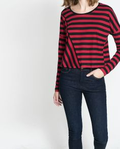 Image 1 of STRIPED T-SHIRT WITH DIAGONAL SEAM from Zara
