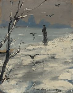 An elegant woman, said to be Sarah Bernhardt, on a winter's walk, Louise Abbéma. French (1858 - 1927) - Oil on Canvas - Tumblr