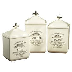 Typographic details add French-inspired style to the American Atelier Maison Cookie Jar Set . This canister set offers stylish storage for the. Kitchen Canister Sets, Storage Canisters, Kitchen Storage, Food Storage, Rustic French, French Country, Country Charm, French Decor, French Style