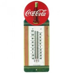 1950's Vintage Style Metal Red Button Coca Cola Thermometer Embossed Sign Genuine Collectible Soda Coke Bottle