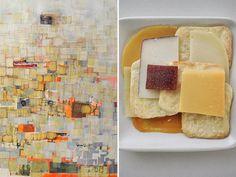 """""""Strawberry"""" di Mark Bradford. Tecnica mista su tela, 2002. A destra, Bradford Cheese Plate"""