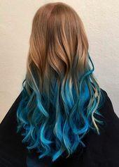 20 Dip Dye Hair Ideas - Delight for All! 20 Dip Dye Hair Ideas – Delight for All! Blue Dip Dye Hair, Blonde Dip Dye, Dyed Hair Ombre, Ombre Blond, Dyed Hair Blue, Dyed Blonde Hair, Ombre Hair Color, Hair Colour, Blue Tips Hair