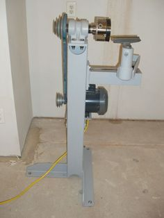 """Bowl Lathe - 1 horsepower motor with a speed range of approximately 575 - 2300 RPM. As setup in the photo, an 18"""" diameter bowl can be turned, the bed can be lowered 5"""" increasing the turning diameter to 28"""".  The bed can also be removed and an outboard turning stand be used to turn much larger diameters, limited by the motor location."""