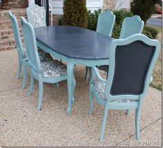 Painted Vintage French Thomasville Dining Table Using ASCP Graphite On The  Table Top And Duck Egg Blue On The Table Base And Chairs. Part 81