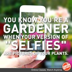 "You know you're a gardener when you version of ""selfies"" are pictures of your plants"