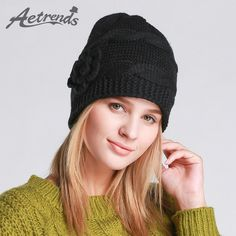 Winter Black Beanie Hats for Women Beanies with Flowers Accessories