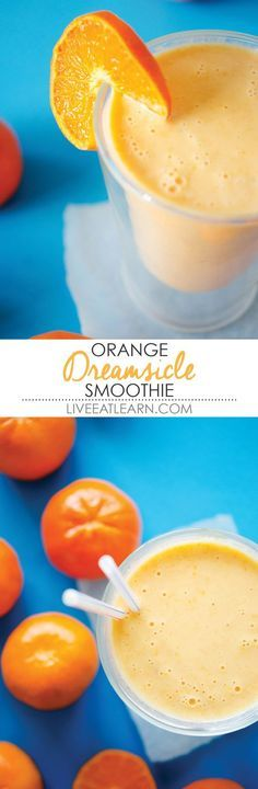 This quick and creamy healthy orange creamsicle smoothie recipe is packed with Greek yogurt protein, vitamin C, and comes together in 5 minutes. Perfect for an on-the-go breakfast, snack, or treat. // Live Eat Learn