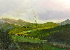 """""""Dusk in Tuscany""""  Original Gouache/panel 24""""x18""""  Available direct through artist  Giclee Print-24""""x18"""" $85.00 Free Shipping-2015"""