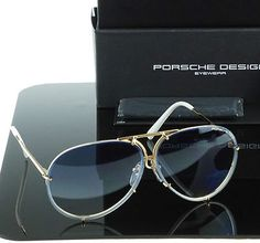 P-8478 W 69mm Genuine PORSCHE DESIGN Titanium Gold Blue Aviator Sunglasses NWT.