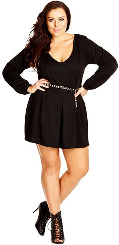 City Chic Plus Size Long-Sleeve Belted Shorts Jumpsuit