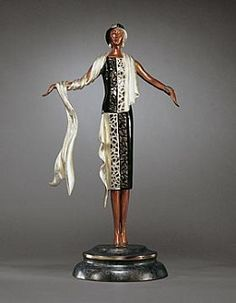 Erte On The Avenue # #Art bronze sculpture, cast in the lost wax mehod, with patination, gold leaf accents and polished embellishments On the Avenue