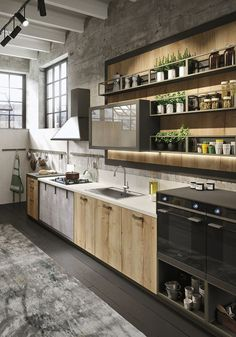 Bring Some Brick & Steel To Your Living Space 10 Creative Industrial Kitchen Decor Ideas For Your Urban Entertainment Spaces industrial and rustic loft kitchen by snaidero 4 Industrial Kitchen Design, Vintage Industrial Decor, Industrial House, Rustic Kitchen, Interior Design Kitchen, Kitchen Decor, Kitchen Ideas, Industrial Apartment, Urban Industrial