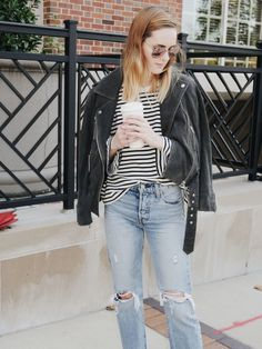5 ways to wear a suede jacket | striped tee, striped t-shirt, styling stripes, fall style 2017, fall fashion, Levi jeans, ripped jeans, mom jeans, wedgie fit, striped bell sleeve, bell sleeve style, fashion blogger style, layering suede jacket, suede jacket style, ray ban sunglasses