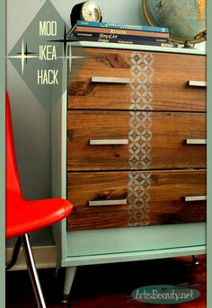 mid century mod ikea rast hack dresser, painted furniture