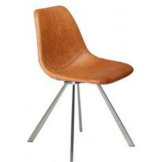 Designstoel - Pitch - Cognac leder | RVS onderstel  - Dan-Form Stoere kunstlederen stoel met onderstel, scandinavisch design voor een mooie prijs. De Pitch stoel is verkrijgbaar in verschillende kleuren leder (groen, grijs, zwart, cognac, bruin en blauw) en onderstellen (rvs, zwart en goud).