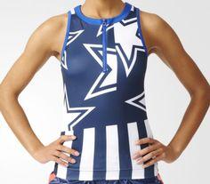 Adidas stellasport tanktop star blau weiss sport damen