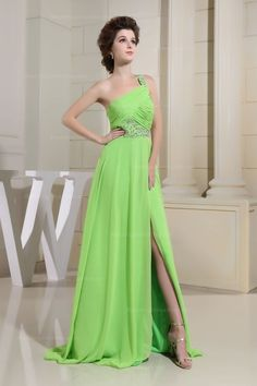 One Strap Floor Length Chifon Dress With A Side Cut Look