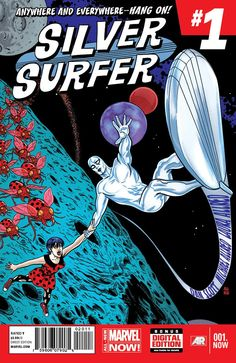 Silver Surfer #1 cover by Mike Allred.  Seriously this thing is straight out of Jack Kirby's head in the 1960's.