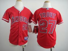 Los Angeles Angels 27 Mike Trout youth Red jersey