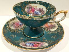 Courting Couple Tea Cup and Saucer, Lefton Tea Cups, Love Story Tea Cup, Tea Set, Green Cups, Antique Tea Cups, Bone China Cups, VogueTeam