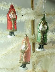 Set of 3 Hand Blown Gilded and Gliter Glass Christmas Santa Claus Ornaments,5''H
