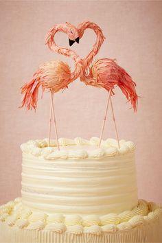 Flaming Flamingo Cake Topper from BHLDN. Handmade by artist Ann Wood.