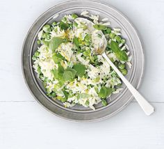Serve rice-like pasta grains with peas and beans, basil and a soured cream and Parmesan dressing