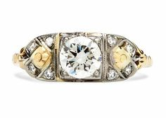 Hadley is an Art Deco diamond ring make from 14k and 18k yellow and white gold centering a 0.62ct EGL certified Old Mine cut diamond with G color and Vs2 clarity. Size 6.5. TrumpetandHorn.com | $3,950