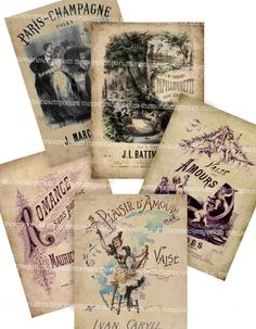 French Love Songs Shabby Chic Antique Music by memoriesemporium, $3.99