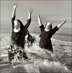 nuns playing in the ocean - freedom of religion