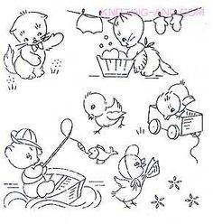 Kitten and chick embroidery patterns