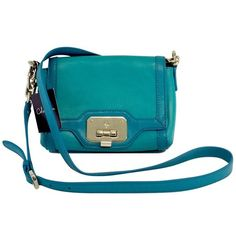 becfc2d35df Pre-owned Cole Haan Turquoise & Teal Leather Crossbody Bag ($85) ❤ liked
