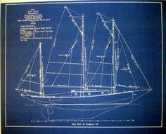 Marine Architect Drawing Sailboat 1913 Blueprint Plan Drawing 19x24 (276)