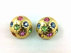 Vintage Gold Tone Colorful Rhinestone Button Earrings. on Etsy, $14.00