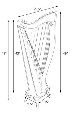 Line drawing showing approximate dimensions of Ravenna 34 harp Draw Show, Ravenna, Line Drawing, Music Instruments, Pvc Pipes, Survival Tools, Mathematics, Sheet Music, Medieval
