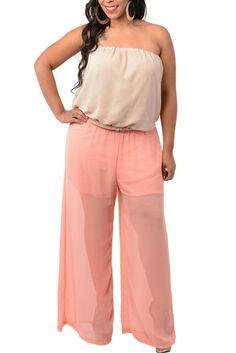 DHStyles Women's Plus Size Sheer Chiffon Strapless Romper with Belt http://www.amazon.com/exec/obidos/ASIN/B00ID3O9J4/hpb2-20/ASIN/B00ID3O9J4