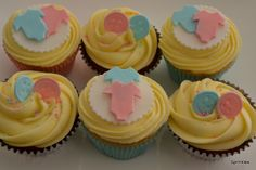 Twin baby shower cupcakes