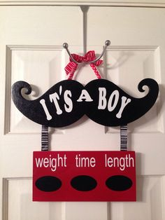 This door hanger is made to hang on the door to the birthing suite and announce your new bundle of joy. It has miniature chalk boards to