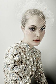 bejeweled gown and a veil #breakingbridal